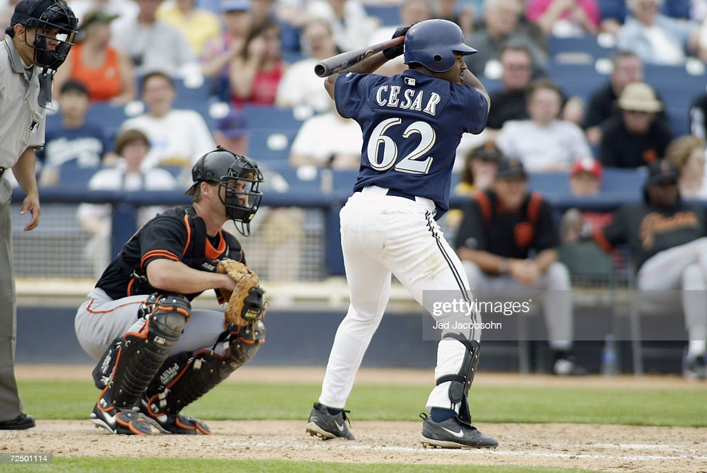 Dionys Cesar of the Milwaukee Brewers at bat against the San Francisco Giants during the Spring Training Game at Marysville Sports Complex in...