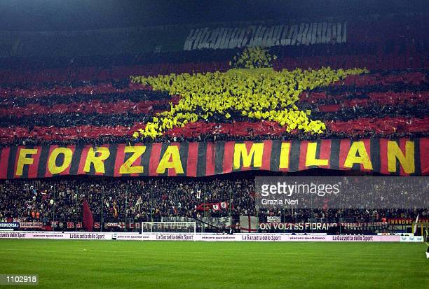 Fans of AC Milan before the Serie A match between AC Milan and Inter Milan played at the San Siro Stadium Milan DIGITAL IMAGE Mandatory Credit Grazia...
