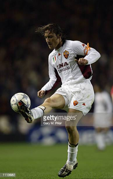 Francesco Totti of AS Roma controls the ball during the UEFA Champions League Second Stage Group B match between Liverpool and AS Roma played at...