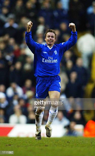 Graeme Le Saux of Chelsea celebrates scoring his side's third goal as they march on towards the semifinals during the AXA sponsored FA Cup...