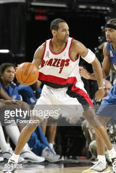 Guard Derek Anderson of the Portland Trail Blazers posts up guard Richard Hamilton of the Washington Wizards during the NBA game at the Rose Garden...