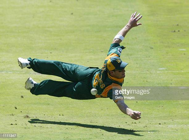 Jonty Rhodes of South Africa in action during the first one day international between South Africa and Australia played at the Wanderers Johannesburg...