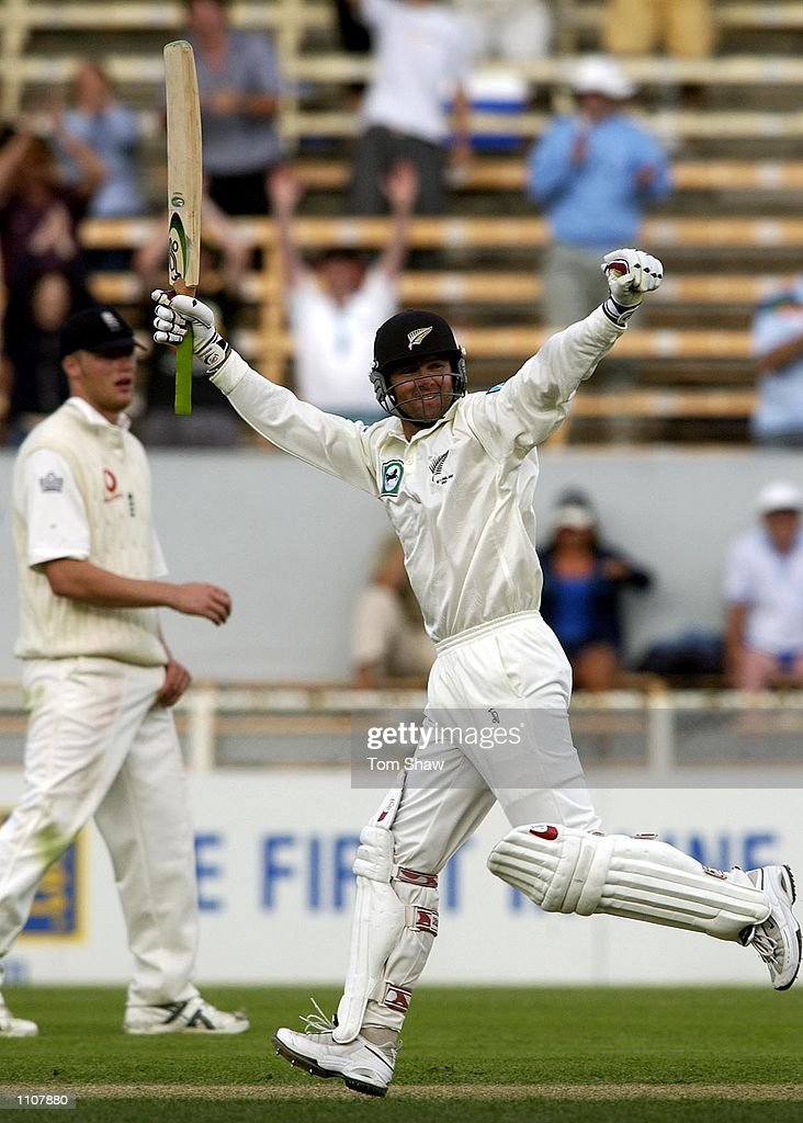 Nathan Astle of New Zealand celebrates reaching his double hundred during the 4th day of the New Zealand v England 1st Test at the Jade Stadium...