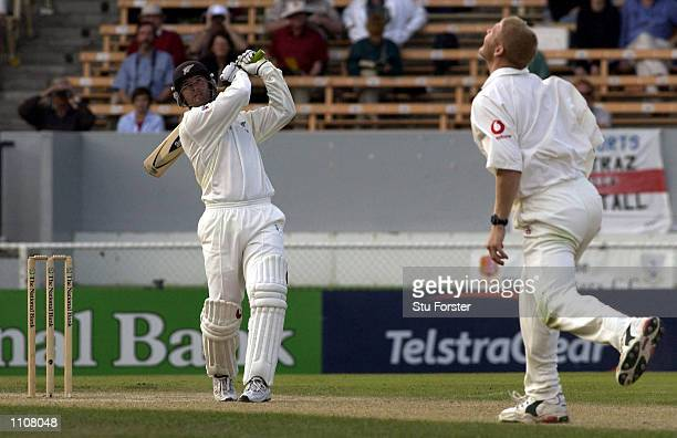 New Zealand batsmen Nathan Astle hits out at Matthew Hoggard during his record breaking double Century during the Fourth day of the First Test...