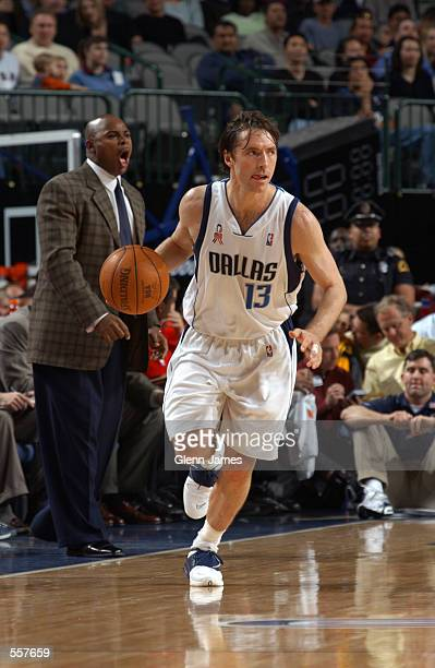 Point guard Steve Nash of the Dallas Mavericks dribbles the ball during the NBA game against the Memphis Grizzlies at American Airlines Center in...