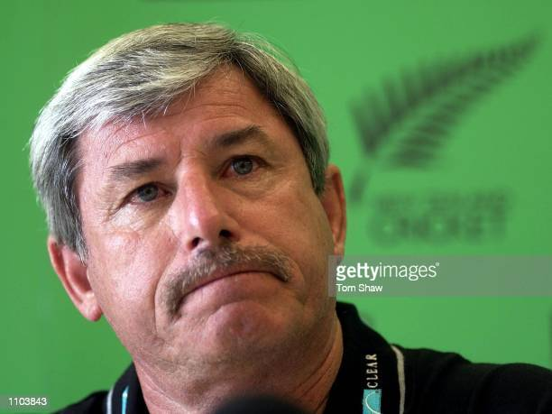 Richard Hadlee of New Zealand talks to the press to announce the New Zealand test team during the Canterbury v England 3 day game at Hagley Park Oval...