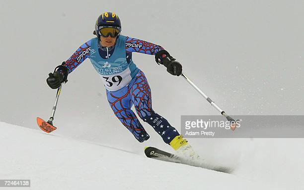 Sandy Dukat of USA in action in the women's LW2 SuperG during the Salt Lake City Winter Paralympic Games at the Snowbasin ski area in Ogden Utah...