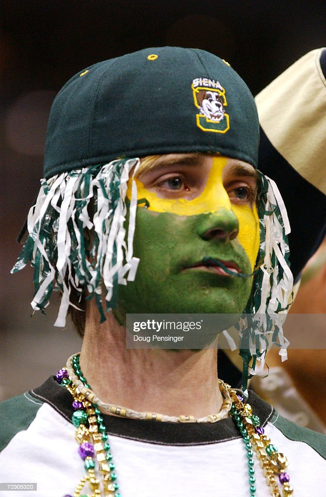 Siena fan observes the game against Maryland during the first round the NCAA Men's Basketball Championship at the MCI Center in Washington D.C. Maryland defeated Siena 85-70. DIGITAL IMAGE Mandatory Credit: Doug Pensinger/Getty Images
