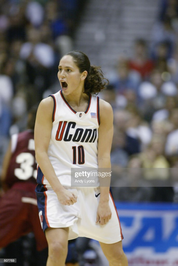 Sue Bird #10 of Connecticut reacts during the NCAA Women's Championship Game against Oklahoma at the Alamo Dome in San Antonio,Texas. Connecticut won 82-70 to finish their season undefeated. DIGITAL IMAGE. Mandatory Credit: Andy Lyons/Getty Images
