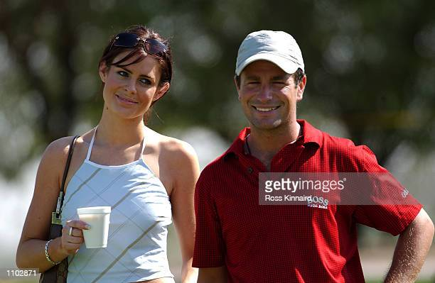 Susie Amy ''Chardonny'' form the TV series Footballers Wives with boyfriend and golfer Steve Webster of England on the 3rd hole during his practice...