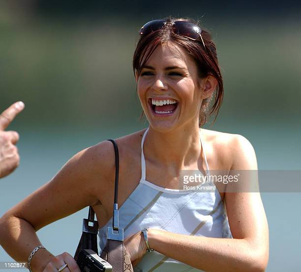 Susie Amy ''Chardonny'' form the TV series Footballers Wives watches her boyfriend and golfer Steve Webster of England on the 9th hole during his...