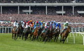 The field in this year's first race the Gerrard Supreme Novices Hurdle passes the packed grandstand at Cheltenham DIGITAL IMAGE Mandatory Credit Mike...
