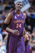 This is a close up of center Hakeem Olajuwon of the Toronto Raptors The picture was taken during the NBA game against the Dallas Mavericks at the...