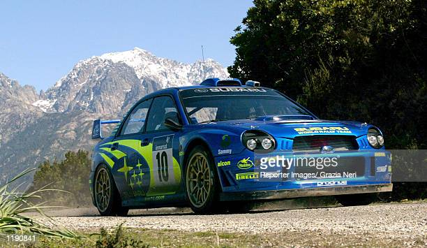 Tommi Makinen of Finland drives his Subaru Impreza WRC 2001 during the Shakedown stage of the Corsica World Rally Championship Corsica DIGITAL IMAGE...
