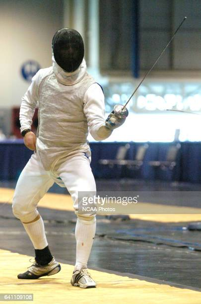 Boaz Ellis of Ohio State prepares to battle Gabriel Sinkin of NYU for the gold medal final round in the foil during the Division 1 Men's Fencing...