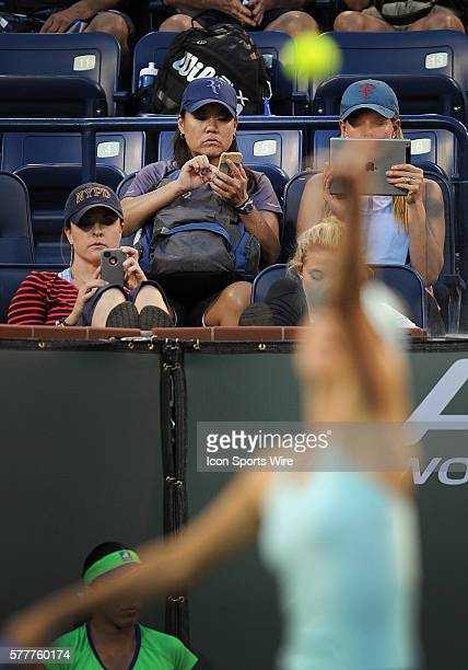 Social media at work during a Marie Sharapova serve during a match against Julia Goerges during the BNP Paribas Open played at the Indian Wells...