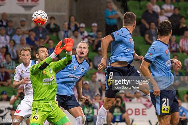Vedran Janjetovic of Sydney FC attempts to stop the ball after a deflection from Milos Dimitrijevic of Sydney FC during the 22nd round of the 201516...