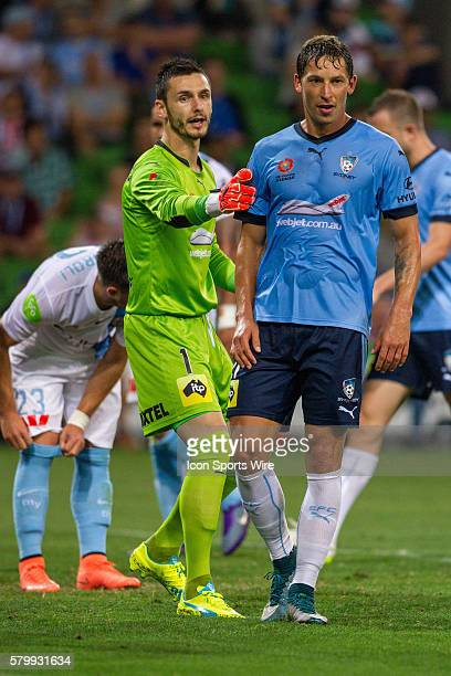 Vedran Janjetovic of Sydney FC tells Filip Holosko of Sydney FC where to stand for a corner during the 22nd round of the 201516 Hyundai ALeague...