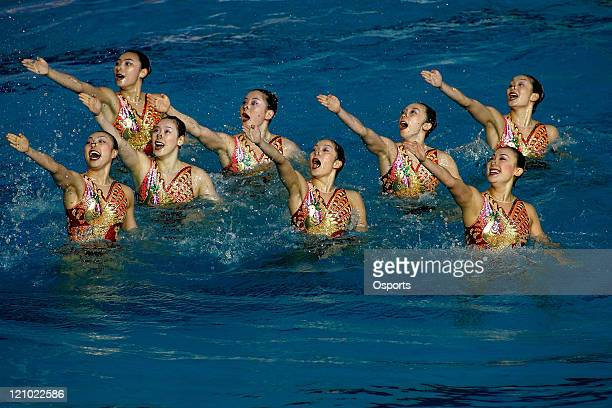 Mar 24 Melbourne Australia Team China performs in the Free Routine Final at the synchronized swimming event during the XII FINA World Championships...