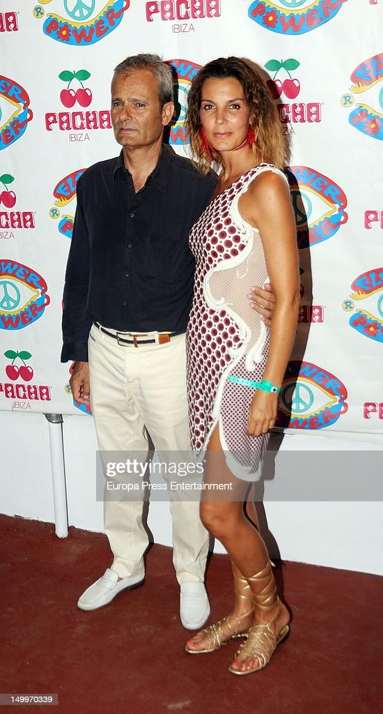 Mar Flores and Javier Merino attend 'Flower Power' Party 2012 at Pacha Club on August 7, 2012 in Ibiza, Spain.