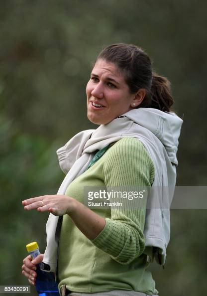 Mar Garcia sister of golfer Sergio Garcia of Spain helps to control the crowd during the third round of the Castello Masters Costa Azahar at the Club...