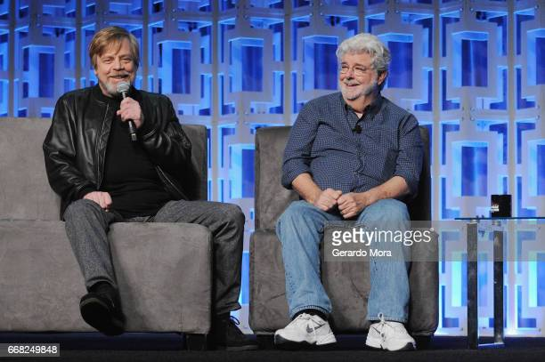Mar Hamill and George Lucas attend the 40 Years of Star Wars panel during the 2017 Star Wars Celebrationat Orange County Convention Center on April...
