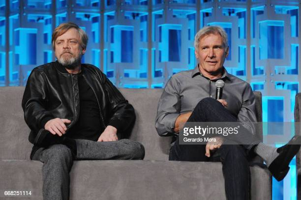 Mar Hamill and Harrison Ford attend the 40 Years of Star Wars panel during the 2017 Star Wars Celebrationat Orange County Convention Center on April...