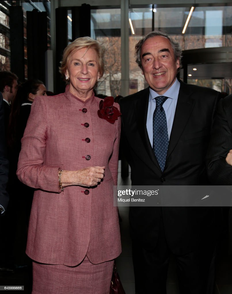 Mar Raventos and the President of Spanish Confederation of Employers' Organizations (CEOE) Juan, 'Joan' Rosell attend the Centenary 1917-2017 lawyers company at the Cuatrecasas Headquarters on February 27, 2017 in Barcelona, Spain.