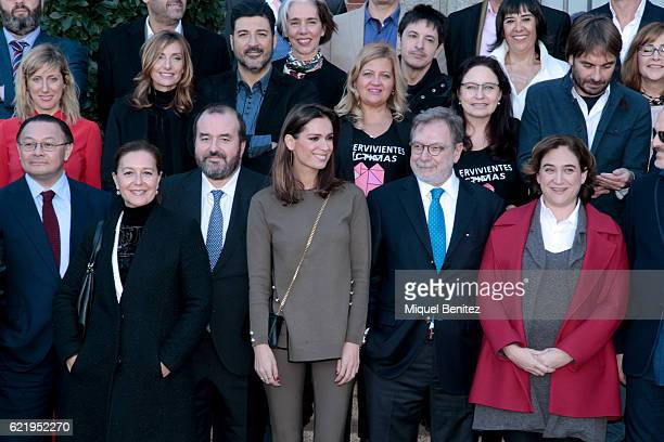 Mar Saura Juan Luis Cerbian and Ada Colau attend the reception to the Ondas Awards 2016 winners press conference at the Palauet Albeniz on November 9...