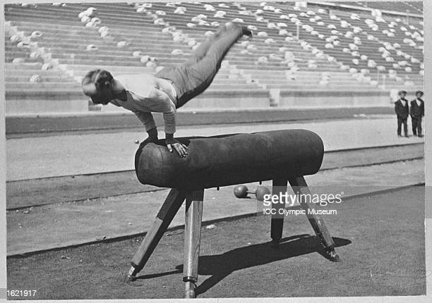 Carl Schuhmann of Germany in action in the Long Horse Vault event during the 1896 Olympic Games in Athens, Greece. Schuhmann won the gold medal in this event. \ Mandatory Credit: IOC/Olympic Museum /Allsport
