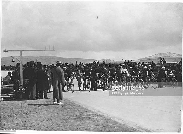 General view of the start of a race in a Cycling event during the 1896 Olympic Games in Athens, Greece. \ Mandatory Credit: IOC/Olympic Museum /Allsport