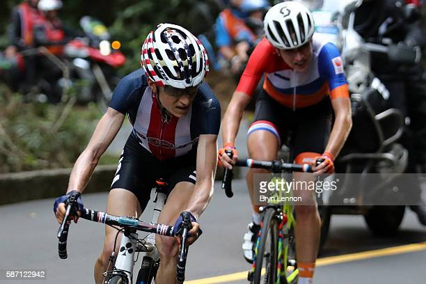 Mara Abbott of the United States leads Annemiek van Vleuten of the Netherlands during the Women's Road Race on Day 2 of the Rio 2016 Olympic Games at...