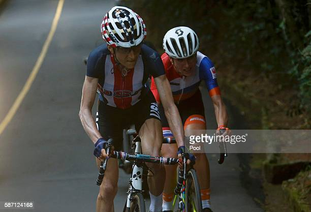 Mara Abbott of the US leads Annemiek van Vleuten of the Netherlands in the women's cycling road race on Day 2 of the Rio 2016 Olympic Games August 7...