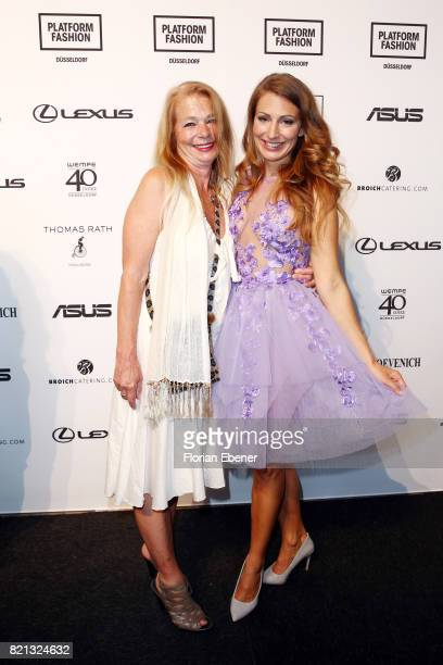 Mara Bergmann and her mother attend the Thomas Rath show during Platform Fashion July 2017 at Areal Boehler on July 23 2017 in Duesseldorf Germany