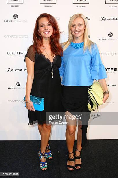Mara Bergmann and Natalie Hellmann attend the Annette Goertz show during Platform Fashion July 2016 at Areal Boehler on July 23 2016 in Duesseldorf...