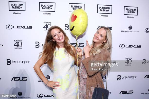 Mara Bergmann and Tiana Pongs attend the Breuninger after party during Platform Fashion July 2017 at Areal Boehler on July 21 2017 in Duesseldorf...
