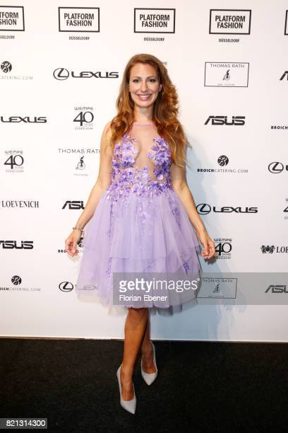Mara Bergmann attends the Thomas Rath show during Platform Fashion July 2017 at Areal Boehler on July 23 2017 in Duesseldorf Germany
