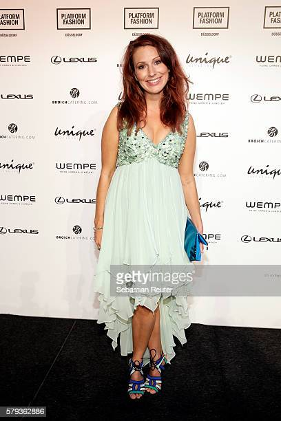 Mara Bergmann attends the Unique show during Platform Fashion July 2016 at Areal Boehler on July 23 2016 in Duesseldorf Germany