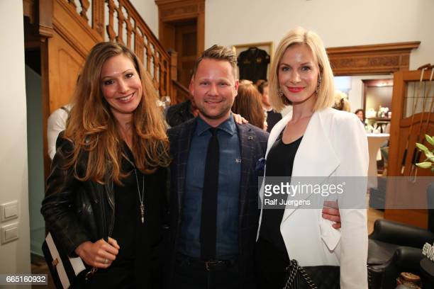 Mara Bergmann Bastian Ammelounx and Pia Sarpei attend the La Martina get together at their showroom on April 5 2017 in Duesseldorf Germany