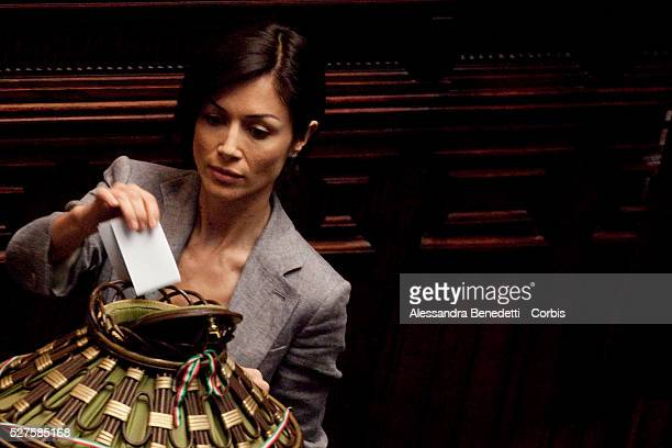 Mara Carfagna during the votation of the Italian Parliament to elect the 12th President of the Italian Republic