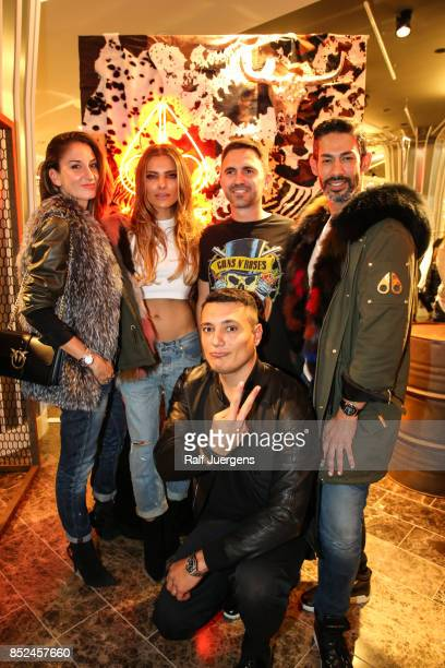 Mara Franchi Sophia Thomalla Christiano Citron Stefano Mirpourian and in front Marco D´Avanzo pose during the store event 'Moose Knuckles at...