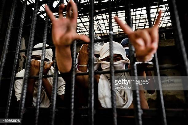 Mara Salvatrucha gang members show finger signs representing their gang while being detained at a detention center on February 20 2014 in San...