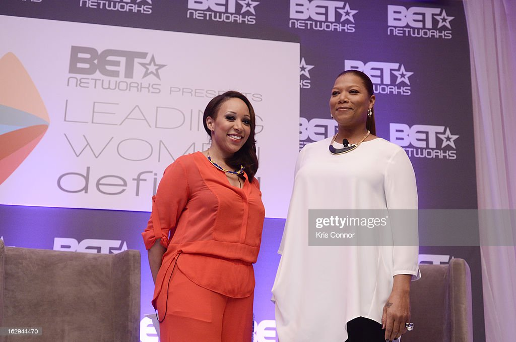 Mara Schiavocampo and <a gi-track='captionPersonalityLinkClicked' href=/galleries/search?phrase=Queen+Latifah&family=editorial&specificpeople=171793 ng-click='$event.stopPropagation()'>Queen Latifah</a> speaks during the Leading Women Defined: Girl's Night Out at Ritz Carlton Hotel on March 1, 2013 in Washington, DC.