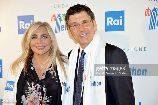 Mara Venier and Fabrizio Frizzi attend the 'Telethon' Press Conference on December 1 2016 in Rome Italy