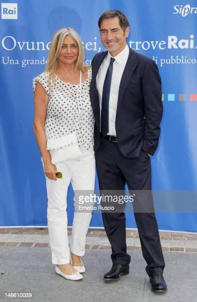 Mara Venier and Marco Liorni attend the Palinsesti Rai photocall at Cavalieri Hilton Hotel on June 20 2012 in Rome Italy