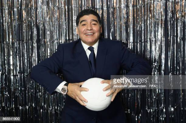 Maradona is pictured inside the photo booth prior to The Best FIFA Football Awards at The London Palladium on October 23 2017 in London England