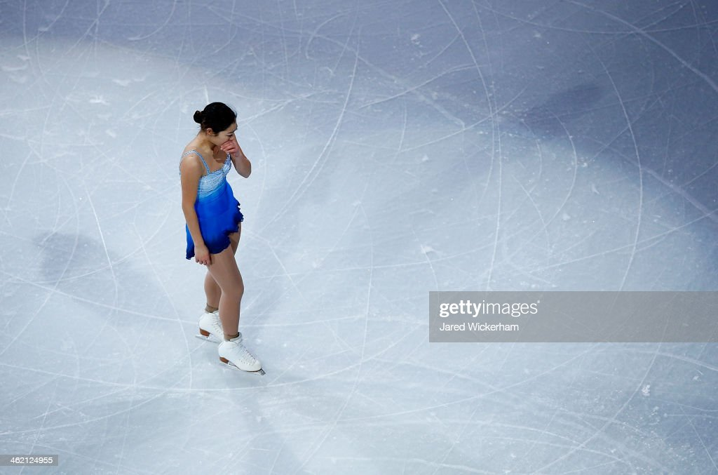 Marai Nagasu becomes emotional as she leaves the ice for the Smucker's Skating Spectacular following the Prudential U.S. Figure Skating Championships at TD Garden on January 12, 2014 in Boston, Massachusetts.