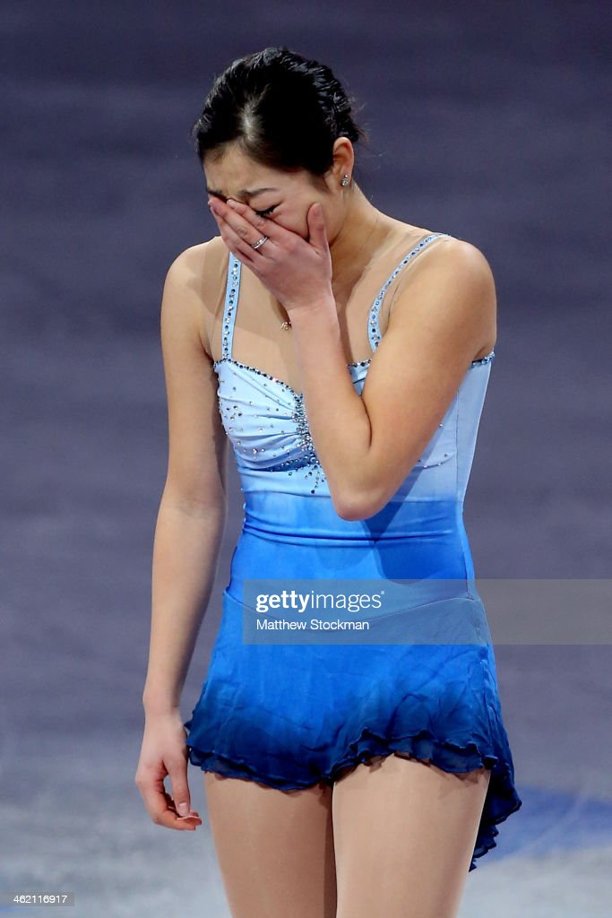 Marai Nagasu becomes emotional as she takes the ice for the Smucker's Skating Spectacular following the Prudential U.S. Figure Skating Championships at TD Garden on January 12, 2014 in Boston, Massachusetts.