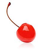 Maraschino cherry on white background