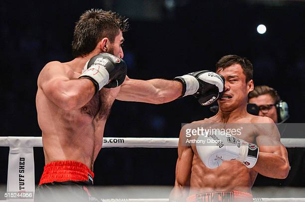 Marat Grigorian and Sitsongpeenong during the Kick Boxing World Championship at AccorHotels Arena on March 12 2016 in Paris France